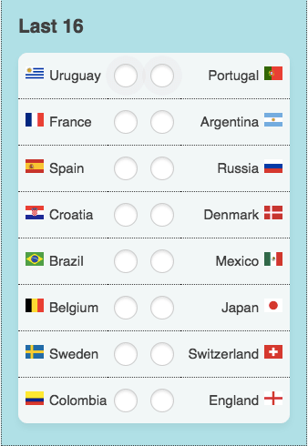 last 16 world cup russia table