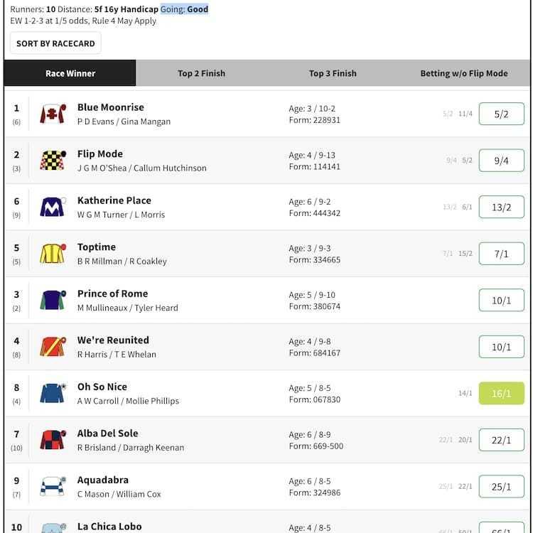horse racing card - going