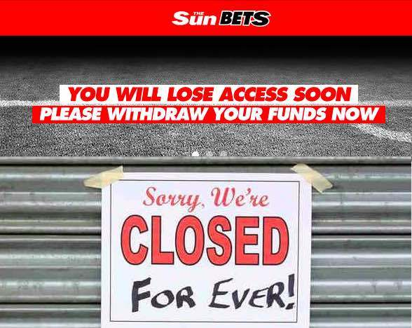 Sunbets out of business
